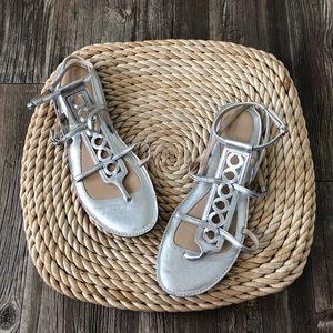 silver coach sandals 9.5